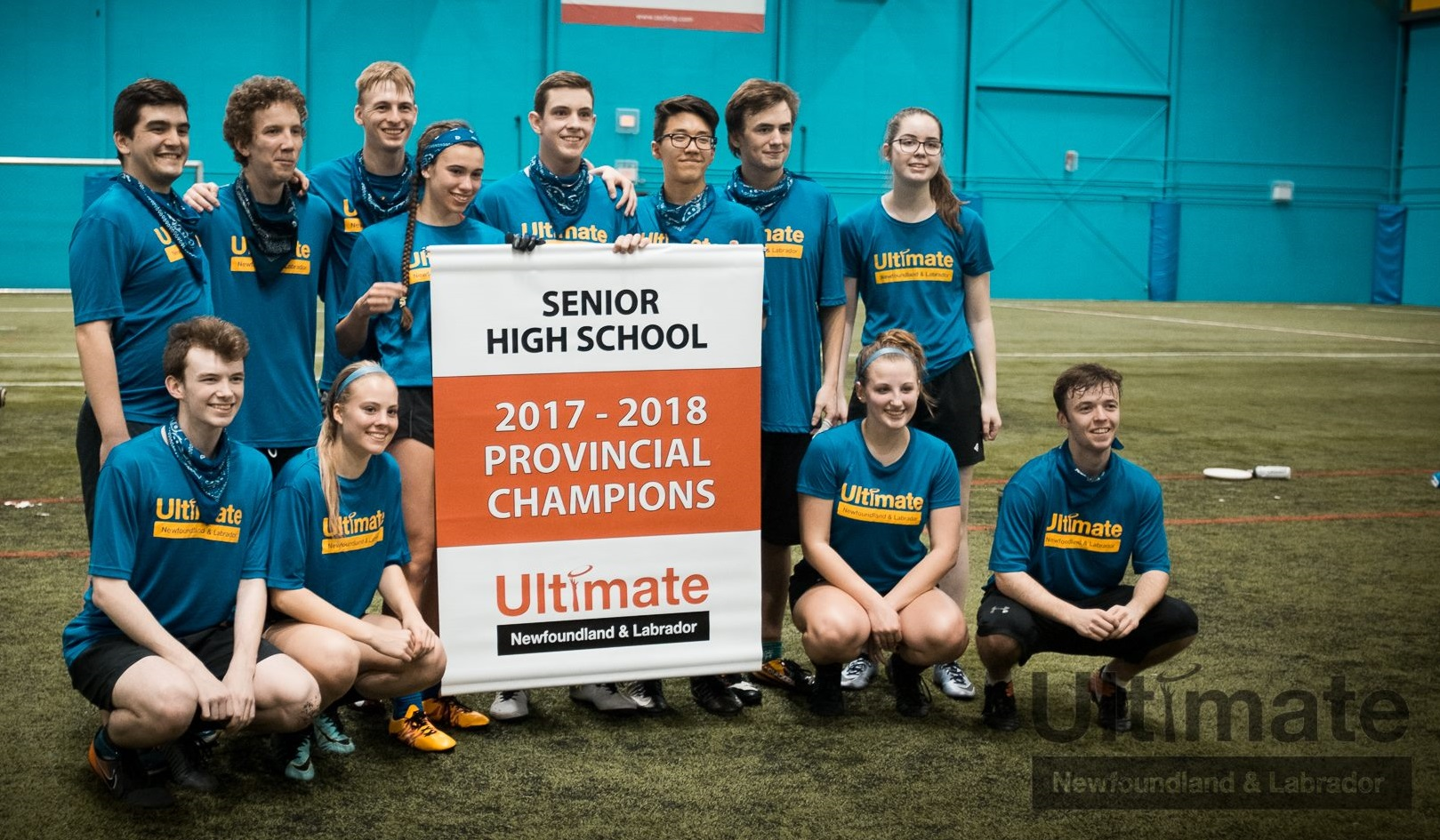 The team from Mount Pearl Senior High poses with the banner for the 2018 Senior High Provincial Tournament.