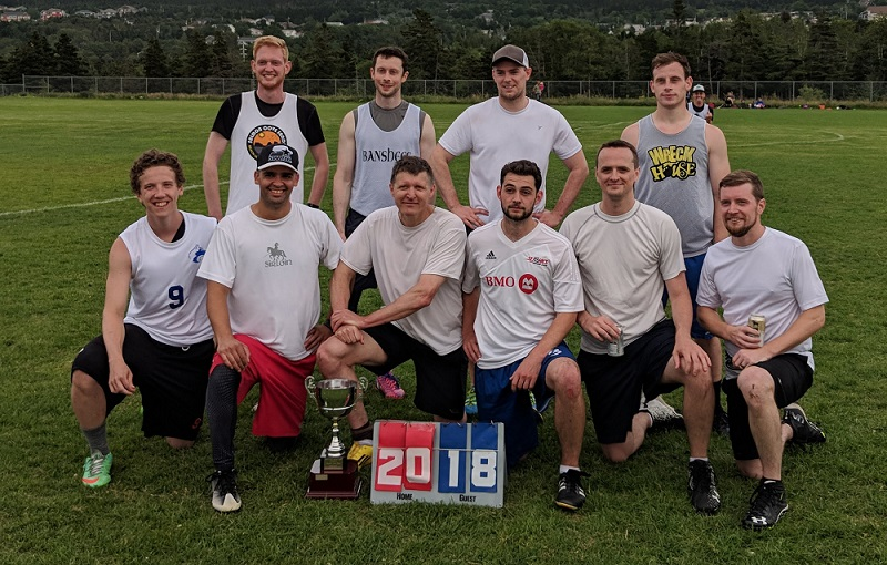 A team picture of the Cherry Blasters, which won the 2018 Men's Avalon Ultimate League summer title.