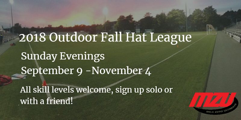Mile Zero Ultimate (MZU) is offering outdoor and indoor fall leagues in St. John's.
