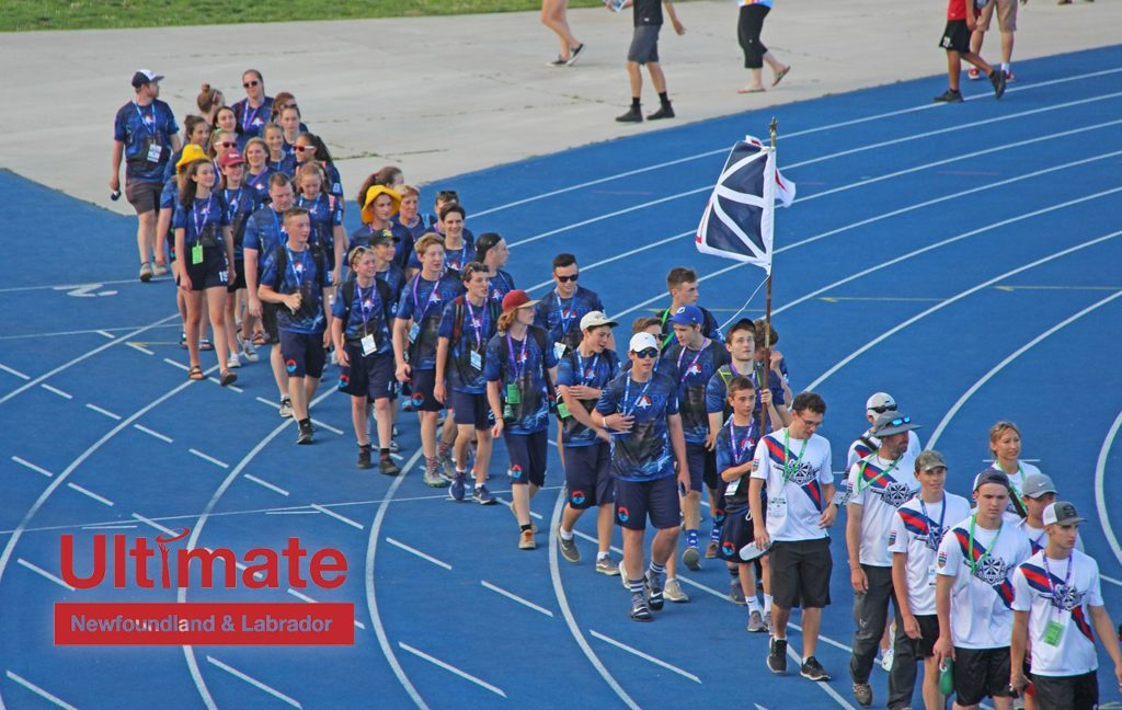 Members of Storm, Newfoundland and Labrador's junior competitive club teams, march in the opening ceremony of the 2018 Canadian Ultimate Championships.