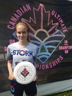 Madison Hull is pictured at the 2018 Junior Canadian Ultimate Championship.