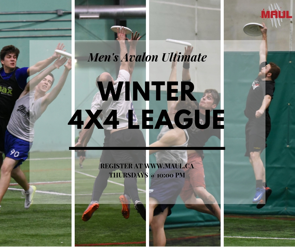 Promotional image for the Men's Avalon Ultimate League's winter four-on-four league.