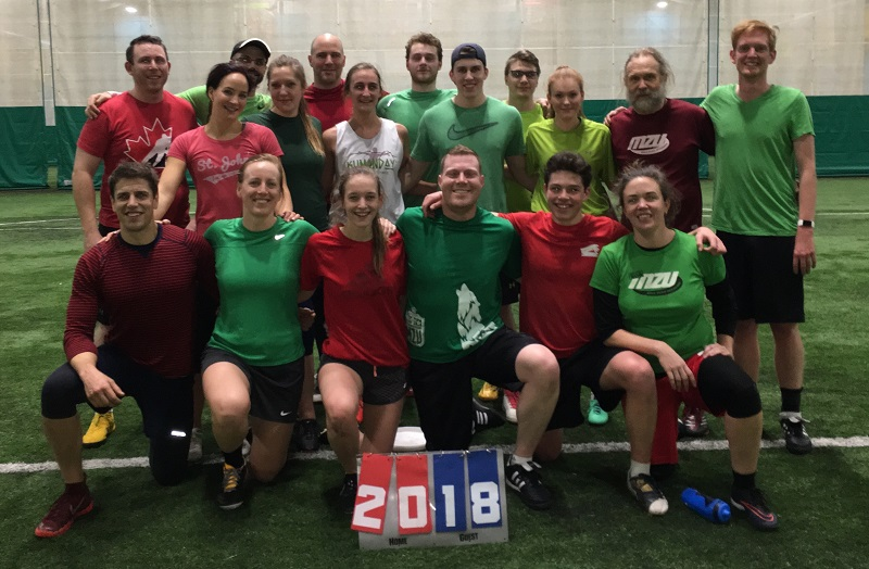 Team members from Naughty List and Holly Jolly's pose for a group photo at Ultimate NL's 2018 Huckfest.