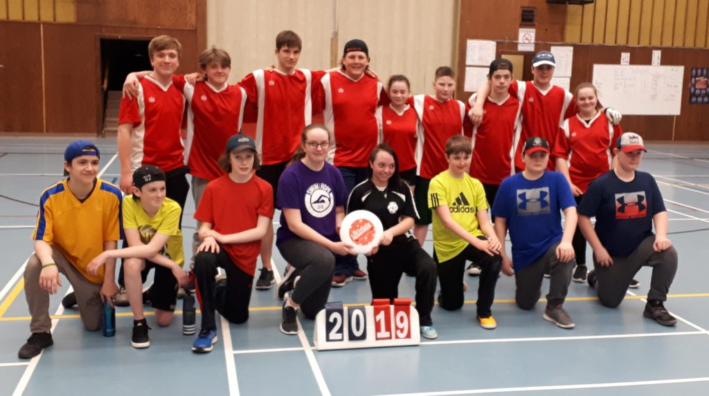 Some of the players in the first ultimate tournament in Labrador are pictured at Menihek High School.