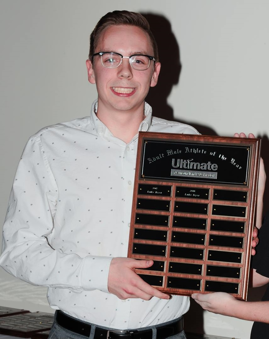 Luke Dyer holds his award for Ultimate NL's male athlete of the year in 2018.