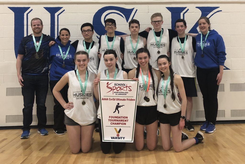 Mount Pearl Senior High, pictured with coaches Aaron Power, Natalie O'Donnell and Claire Moore-Gibbons, won the first School Sports NL banner for ultimate frisbee.