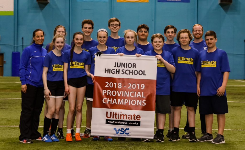 Members of the Mount Pearl Senior High Grade 9 team pose with the Ultimate Newfoundland and Labrador provincial banner.