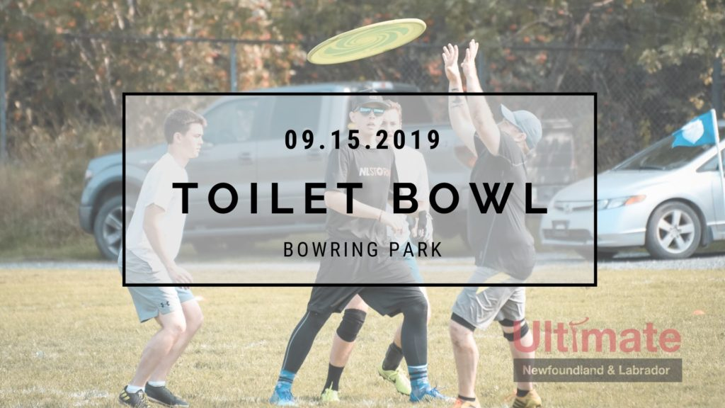 A promotional image for Ultimate NL's annual Toilet Bowl tournament features a photo of players with an over-sized disc.