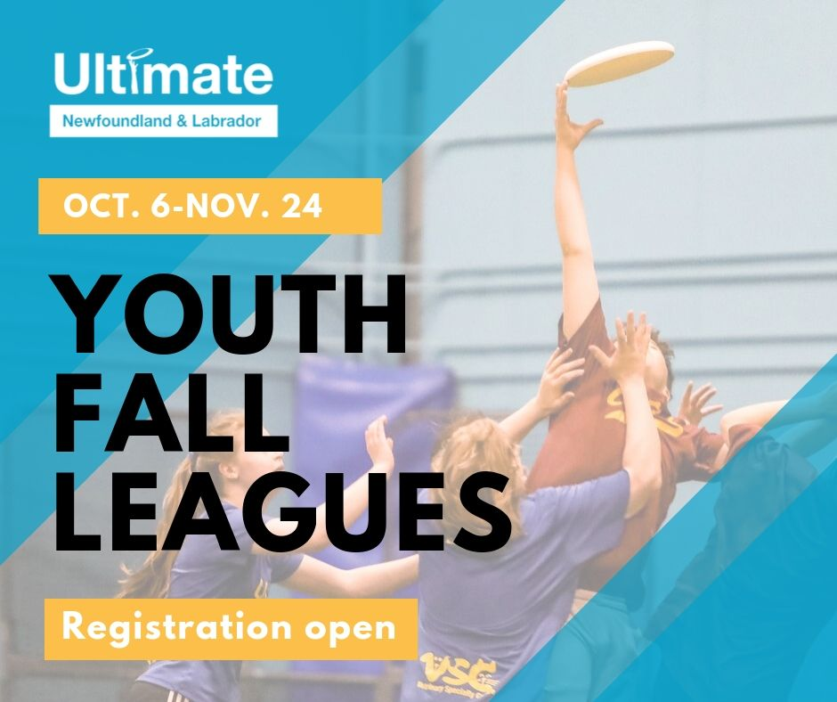 A promotional image for Ultimate Newfoundland and Labrador's 2019 fall youth leagues.