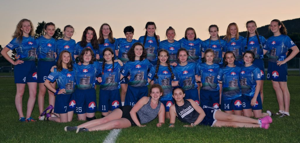A team picture of the junior women's competitive club team, Storm, from Newfoundland and Labrador.