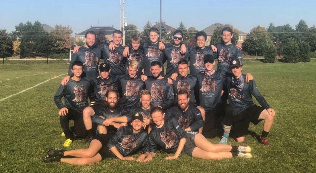 A team photo of the open Memorial Ultimate Touring Team at the 2019 Canadian University Ultimate Championships.