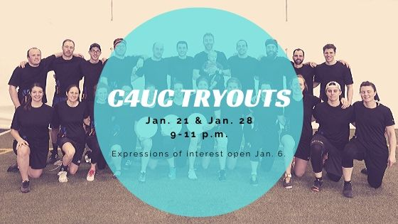 "The image shows a team photo of players from Newfoundland and Labrador at the 2019 Canadian 4-on-4 Ultimate Championships. Overlaid on top of the photo is a blue circle with the words ""C4UC Tryouts"" with the dates and times."