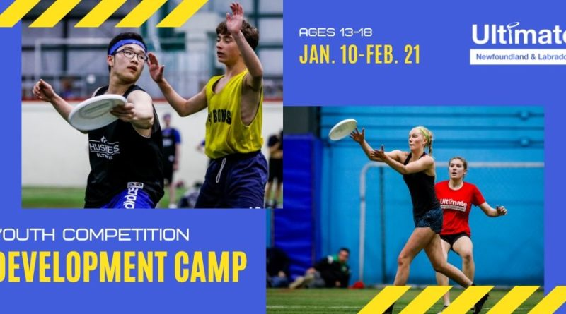 "A promotional image that features young ultimate frisbee players and the words ""Youth competition development camp."""