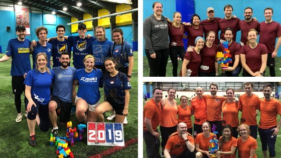 Three photos of the winning teams from Mile Zero Ultimate's 2019 Fall Indoor BIY League.
