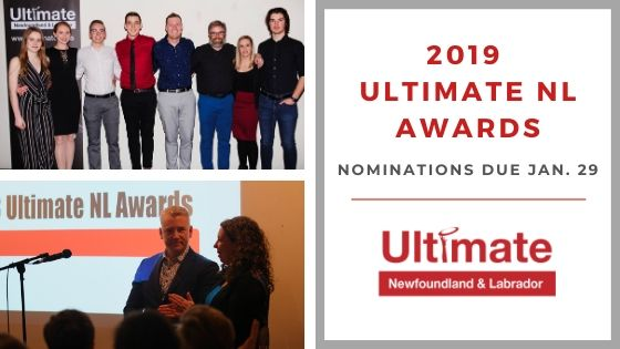 "The image features previous Ultimate Newfoundland and Labrador award winners with the text, ""2019 Ultimate NL Awards: Nominations due Jan. 29."""