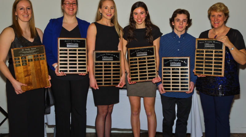 The 2019 Ultimate NL Award winners are pictured holding plaques. From left to right are Melissa Wheeler, Hilary Walsh, Erin Daly, Shae LeDevehat, Kyle Hedderson and Laurel Penney. Missing from the photo are Luke Dyer and Rachael Fitkowski.