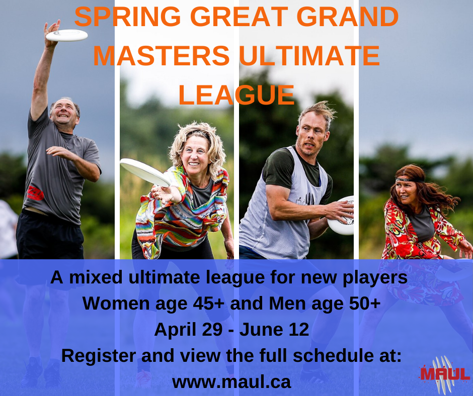 A promotional image featuring older male- and female-matching ultimate frisbee players.