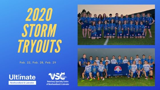 "A promotional image with the text ""2020 Storm Tryouts"" with team photos of the 2019 Storm open and women's teams."