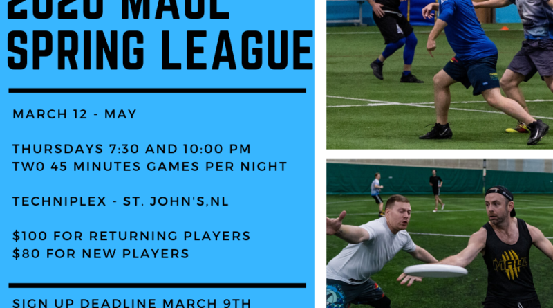 A promotional image that features male-matching players in various action poses and provides details of MAUL's spring league.