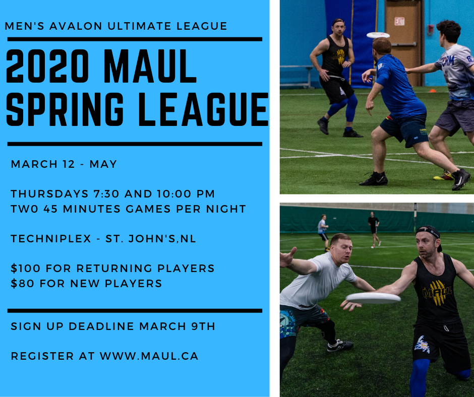 A promotional image that shows male-matching players in various action poses as well as provides details for the upcoming spring league.