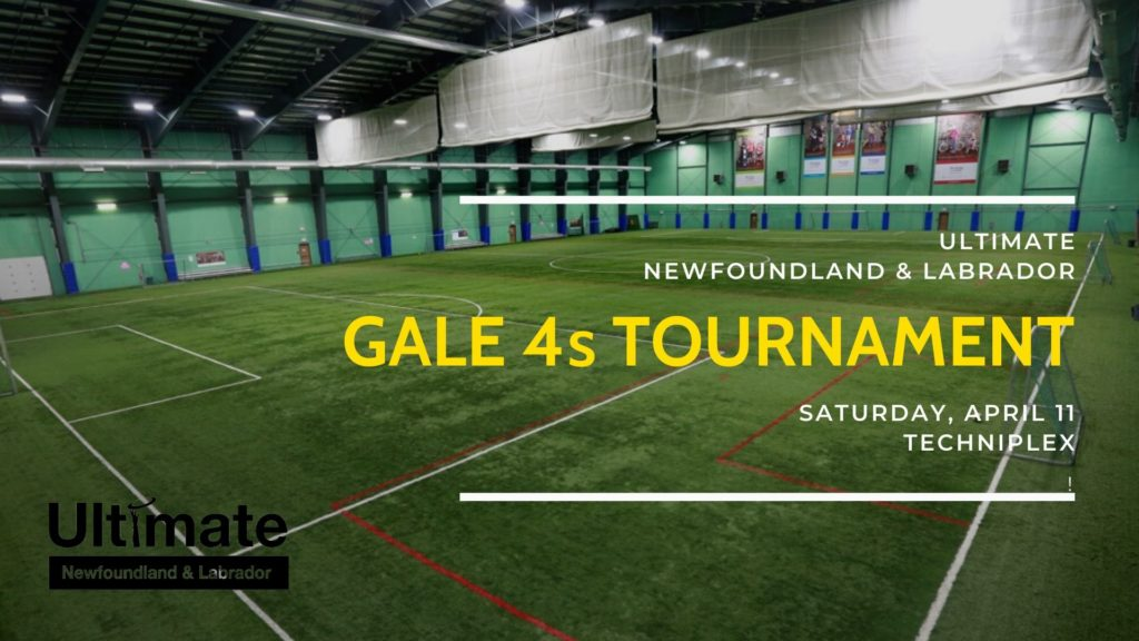 "The image shows the field at the Techniplex in St. John's with text that reads, ""Gale 4s Tournament."""