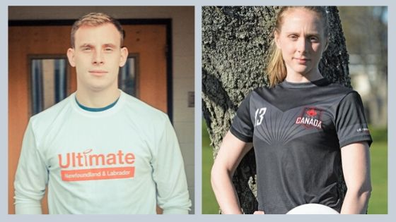 Nick House is pictured wearing an Ultimate Newfoundland and Labrador shirt on the left. Erin Daly is pictured wearing a Team Canada jersey and holding a disc.