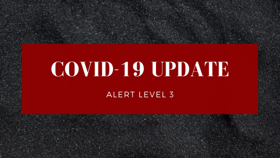 A red square on a grey background with following text: COVID-19 update: Alert Level 3.