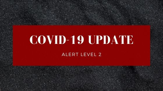 Text reads: covid-19 update: Alert level 2