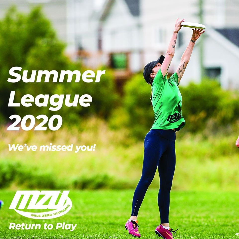"""The image shows a female player reaching for a disc and displays the text """"Summer league 2020: We've missed you!"""""""