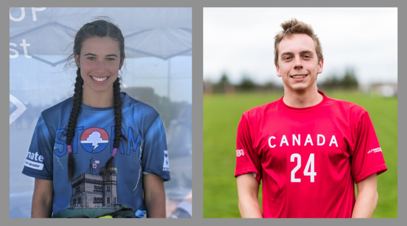 Shae LeDevehat and Luke Dyer are pictured wearing their team jerseys for Storm and Canada.
